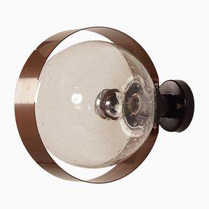 Wandlampe aus Kupfer & Glas von Indoor, 1970er