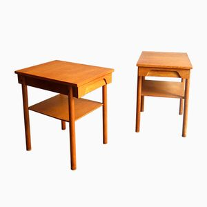 Vintage Danish Oak Bedside Tables with Drawer and Shelf, 1950s, Set of 2