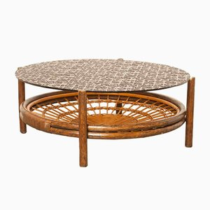 Glass & Rattan Coffee Table, 1960s