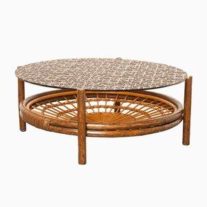 Table Basse en Verre et Rotin, 1960s