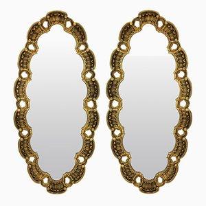 Specchi Mid-Century in legno dorato, set di 2