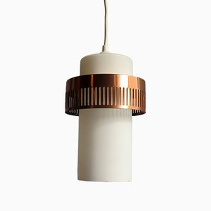 Coppered Aluminium & White Opaline Glass Pendant Lamp, 1960s