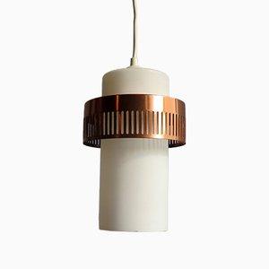 Lampada in alluminio ramato e vetro opalino bianco, anni '60