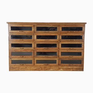 Vintage Oak 15-Drawer Haberdashery Cabinet, 1980s