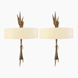 Lámparas de pared Amour de bronce de Félix Agostini, años 60. Juego de 2