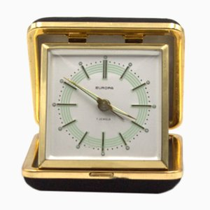 7 Jewels Table Alarm Clock with Silk Case from Europa, 1950s