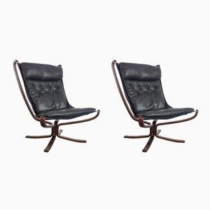 Chaises à Dossier Haut Falcon Noirs Vintage par Sigurd Resell pour Vatne Møbler, Set de 2