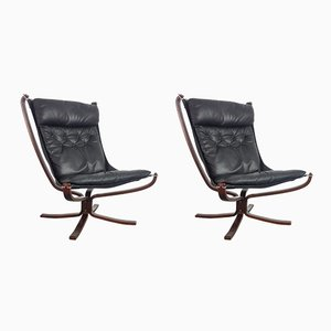 Vintage Black High-Back Falcon Chairs by Sigurd Resell for Vatne Møbler, Set of 2