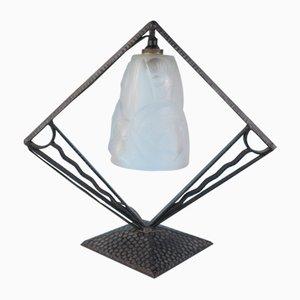 Lámpara de mesa Art Déco de hierro forjado y vidrio de Degue, años 30