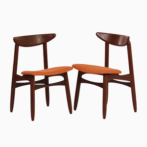 Danish Teak and Orange Fabric Dining Chairs, 1960s, Set of 2