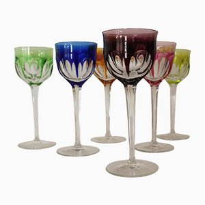 Copas de vino vintage de colores de Moser Karlsbad. Juego de 6