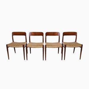 Dänische Modell Nr.75 Esszimmerstühle von Niels Moller für Møllers Møbelfabrik, 4er Set