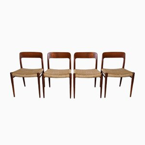 Danish Model no.75 Dining Chairs by Niels Moller for Møllers Møbelfabrik, Set of 4