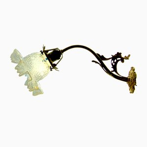 Art Nouveau Opaline Glass & Brass Wall Light, 1908