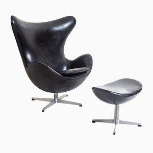 Egg Chair mit Fußhocker von Arne Jacobsen für Fritz Hansen, 1950er