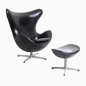 Egg Chair with Footrest by Arne Jacobsen for Fritz Hansen, 1950s