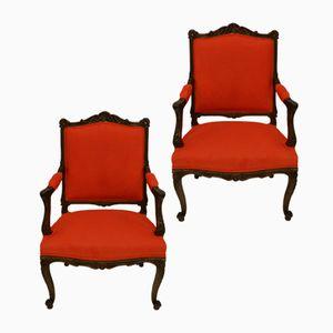 Antike französische Sessel mit Gestell aus Nussholz, 2er Set