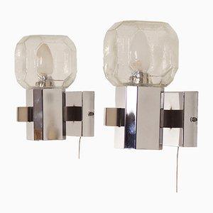 Lampade da parete in vetro di Cosack, anni '60, set di 2
