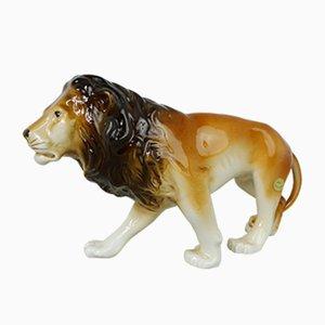 Figurine de Lion Tchèque en Porcelaine de Royal Dux, 1990s