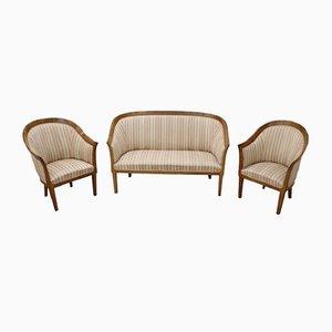 Juego de sillones Art Déco de nogal, años 30