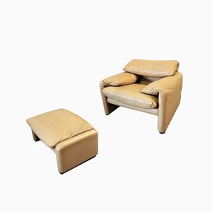 Vintage Maralunga Lounge Chair & Ottoman by Vico Magistretti for Cassina, 1980s