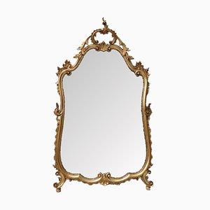 Espejo de pared italiano dorado tallado, años 20