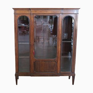 Libreria o vetrina antica in legno di pioppo, fine XIX secolo