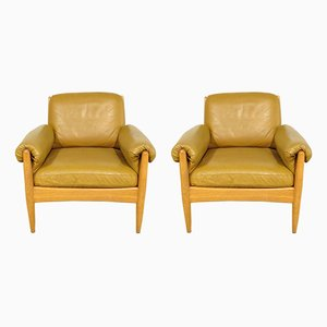 Danish Leather and Teak Lounge Chairs, 1960s, Set of 2