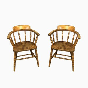 Vintage Elm Armchairs, 1920s, Set of 2