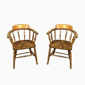 Vintage Sessel mit Gestell aus Ulmenholz, 1920er, 2er Set