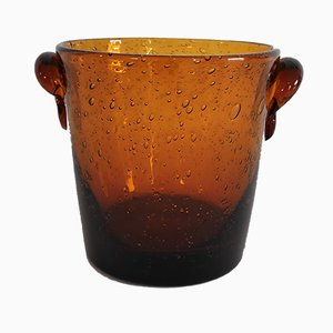 Bicchiere in vetro ambrato a bolle di Biot, anni '60