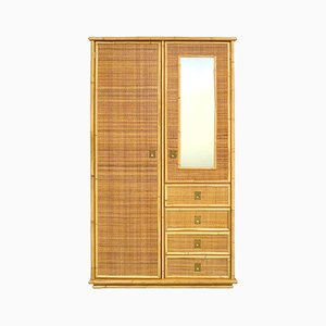 Rattan & Brass Wardrobe with Mirror, 1970s