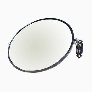 Specchio Art Déco orientabile in metallo cromato
