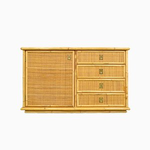 Buffet aus Rattan & Messing, 1970er