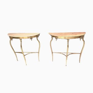 Italian Demi-Lune Pink Marble Console Tables, 1950s, Set of 2