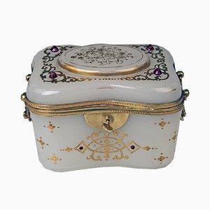Antique Austrian Opaline Glass Biedermeier Sugar Box, 1850s