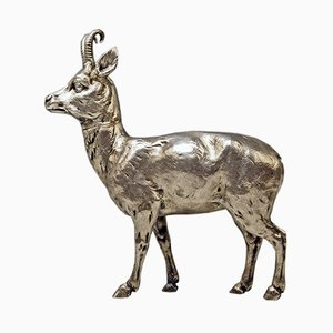 German Silver Chamois Animal Figure from Karl Kurz, 1880s