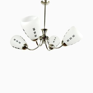 Czechoslovak 4-Arm Chandelier from Kamenický Šenov, 1960s
