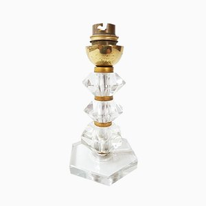 Lámpara de mesa Art Déco de vidrio y latón