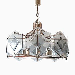 Lámpara colgante era espacial de vidrio y cromo, años 70