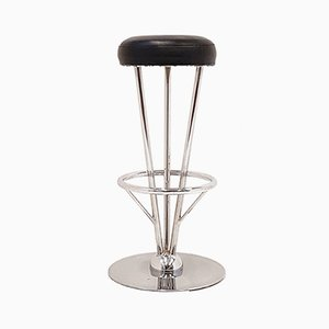 Black Leatherette & Stainless Steel Bar Stool, 1970s
