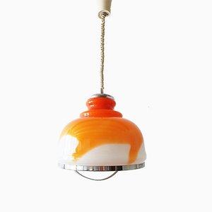 Lámpara colgante era espacial blanca y naranja, años 70