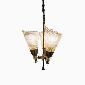 Lámpara de araña Mid-Century con tres puntos de luz, años 60