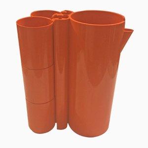 Juego de jarra y seis vasos de ABS naranja de Jean-Pierre Vitrac, años 70