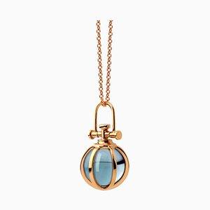 Collana sferica in cristallo blu con topazio blu naturale di Rebecca Li