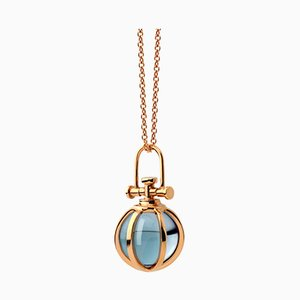 Crystal Ball Necklace with Natural Blue Topaz by Rebecca Li
