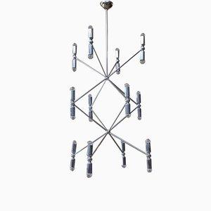Lámpara de araña grande de cromo, años 70