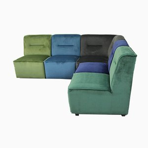Velvet Module Sofa, 1970s, Set of 5