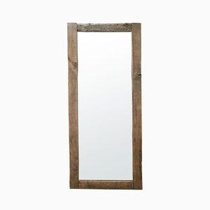Specchio vintage con cornice in quercia, anni '60