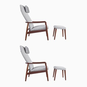 Danish Teak Lounge Chairs with Ottomans by Søren Ladefoged for SL Møbler, 1960s, Set of 2
